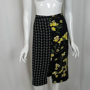 Who What Wear Floral Plaid Mix Pencil Skirt